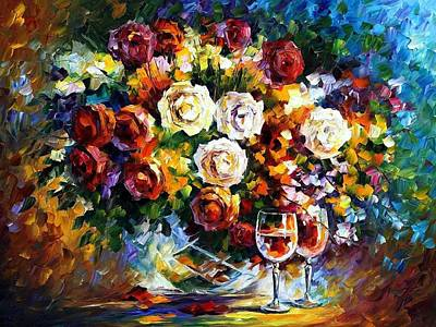 Rose Wine Painting - Roses And Wine by Leonid Afremov