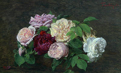 Painting - Roses De Nice, On A Table by Henri Fantin-Latour