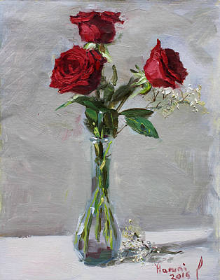 Vase Wall Art - Painting - Roses For Viola by Ylli Haruni