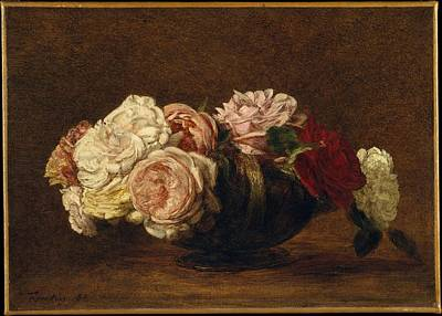 Roses In A Bowl Original by Henri Fantin-Latour