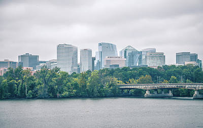 Photograph - Rosslyn Distric Arlington Skyline Across River From Washington D by Alex Grichenko