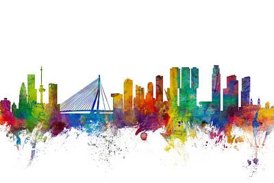 Netherlands Digital Art - Rotterdam The Netherlands Skyline by Michael Tompsett