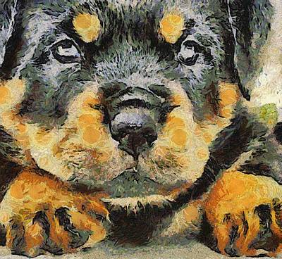 Rottweiler Puppy Portrait Art Print by Tracey Harrington-Simpson