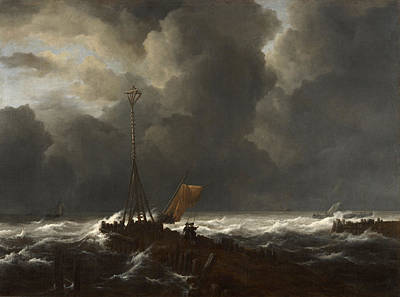 Winter Painting - Rough Sea At A Jetty by Jacob van Ruisdael