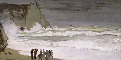 People On Beach Wall Art - Painting - Rough Sea At Etretat by Claude Monet