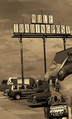 Brown Tones Photograph - Route 66 - Mule Trading Post Sepia by Frank Romeo