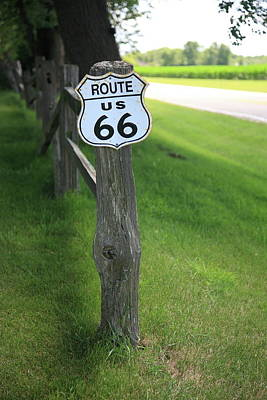 Print featuring the photograph Route 66 Shield And Fence Post by Frank Romeo