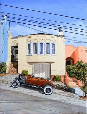 Hot Rod Wall Art - Painting - Row House And Roadster by Ruben Duran