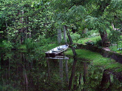 Rowboat In Woods Art Print by Michael L Kimble
