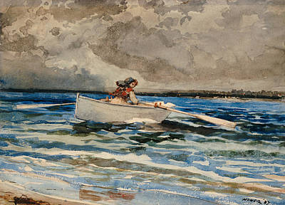 Maine Shore Painting - Rowing At Prouts Neck by Winslow Homer