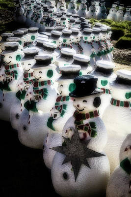 Photograph - Rows Of Snowmen by Garry Gay