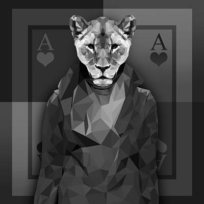 Wild Cat Drawing - Royal Lioness by Gallini Design