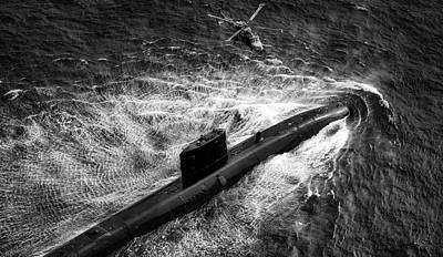 Photograph - Royal Navy Trafalgar Class Submarine And Helicopter by Zachary Wickline