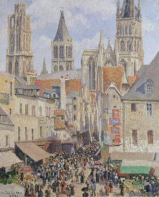 Streetscape Painting - Rue De L'epicerie, Rouen, Effect Of Sunlight by Camille Pissarro