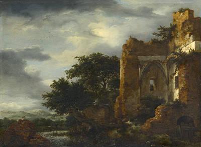 Ruin Painting - Ruins In A Dune Landscape by Jacob van Ruisdael