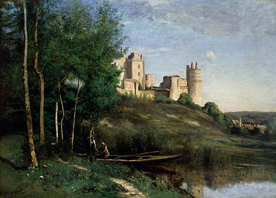 Ruins Of The Chateau De Pierrefonds Art Print by Jean-Baptiste-Camille Corot