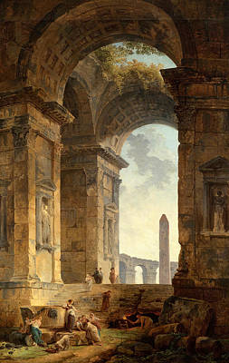 Painting - Ruins With An Obelisk In The Distance by Hubert Robert