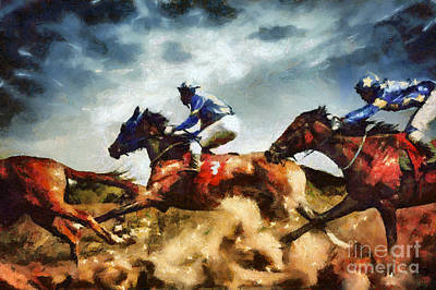 Painting - Running Horses Competition Jockeys In Horse Race by Dimitar Hristov