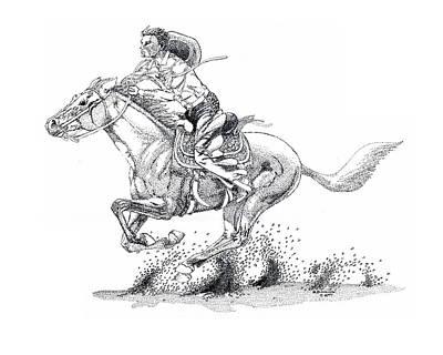 Western Drawing - Running Late by Hugh Blanding