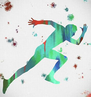 Athletic Mixed Media - Running Man Paint Splatter by Dan Sproul