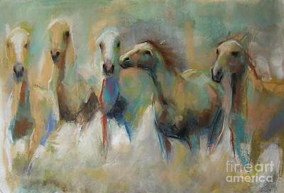Running With The Palominos Art Print by Frances Marino