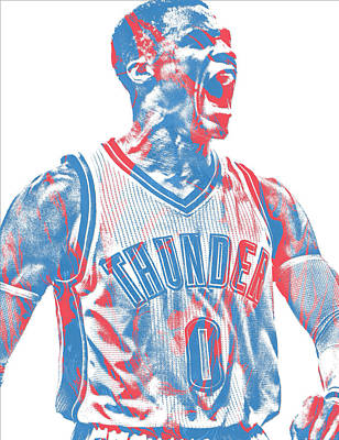 Uniforms Mixed Media - Russell Westbrook Oklahoma City Thunder Pixel Art 31 by Joe Hamilton