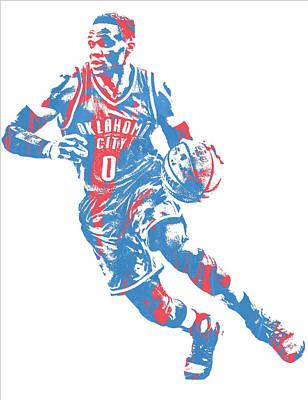 Oklahoma City Thunder Mixed Media - Russell Westbrook Oklahoma City Thunder Pixel Art 32 by Joe Hamilton