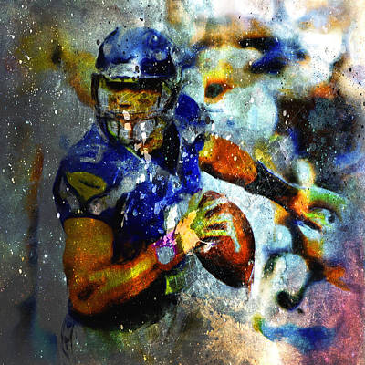 Carrington Mixed Media - Russell Wilson On The Move by Brian Reaves