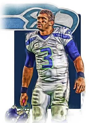 Mixed Media - Russell Wilson Seattle Seahawks Oil Art by Joe Hamilton
