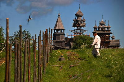 Photograph - Russia - Wooden Churches From The Field by Jacqueline M Lewis