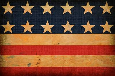 Antique Look Digital Art - Rustic American Flag by Chastity Hoff