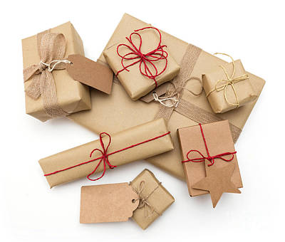 Paper Photograph - Rustic Retro Gifts, Present Boxes. Christmas Time, Eco Paper Wrap. by Michal Bednarek