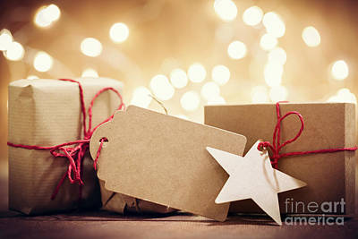 Star Photograph - Rustic Retro Gifts, Present Boxes On Glitter Background. Christmas Time by Michal Bednarek