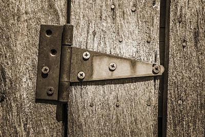 Log Cabin Art Photograph - Rusty Hinge On Log Building by Donald  Erickson