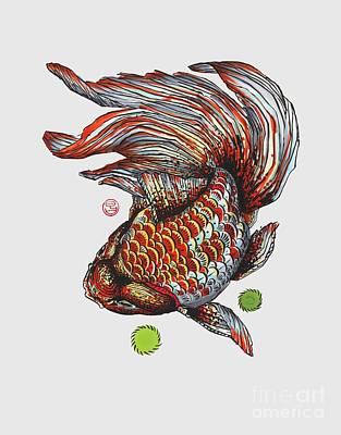 Ryukin Goldfish Print by Shih Chang Yang