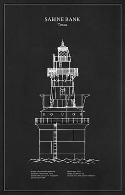 Ocean Digital Art - Sabine Bank Lighthouse - Texas - Blueprint Drawing by Jose Elias - Sofia Pereira