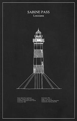 Beach Digital Art - Sabine Pass Lighthouse - Louisiana - Blueprint Drawing by Jose Elias - Sofia Pereira