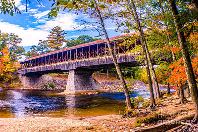 Landscapes Photograph - Saco River Covered Bridge by Claudia M Photography