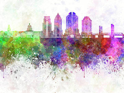 Sacramento Painting - Sacramento Skyline In Watercolor Background by Pablo Romero