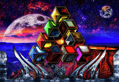 Digital Art - Sacred Cubes by Michael Damiani