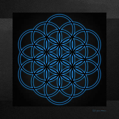 Digital Art - Sacred Geometry - Black Flower Of Life - Seed Of Life With Blue Halo Over Black Canvas by Serge Averbukh