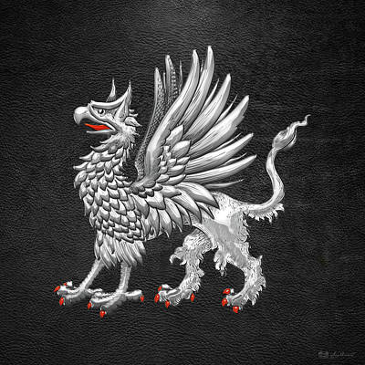 Digital Art - Sacred Silver Griffin On Black Leather by Serge Averbukh
