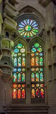 Photograph - Sagrada Familia Stained Glass Barcelona by Adam Rainoff