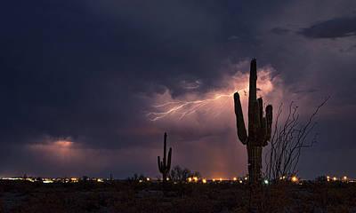 Photograph - Saguaro Lightning  by Saija Lehtonen