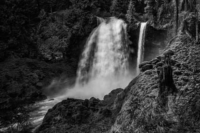 Photograph - Sahalie Falls No. 1 Bw by Belinda Greb