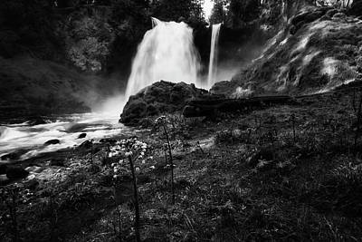 Photograph - Sahalie Falls No. 2 Bw by Belinda Greb