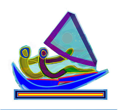 Sail Boat Couple Graphic Ditigal Abstract Painting Art Print