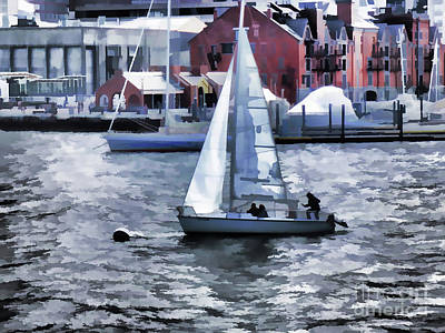 Boston Harbor Islands Painting - Sail Boat  by Lanjee Chee