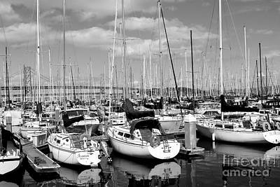 Sail Boats At San Francisco China Basin Pier 42 With The Bay Bridge In The Background . 7d7666 Art Print