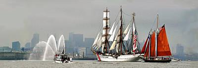 Photograph - Sail Boston 2017 Eagle And Roseway by John Brown